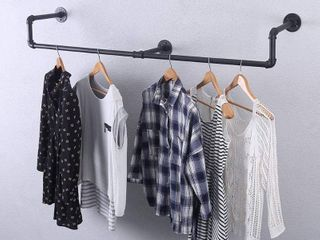 GWH Industrial Pipe Clothing Rack Wall Mounted Vintage Retail Garment Rack Display Rack Cloths Rack Iron Clothing Rod laundry Room Decor  59in   RETAIl  45 99