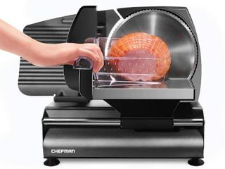 Chefman Die Cast Electric Deli   Food Slicer Cuts Meat  Cheese  Bread  Fruit   Vegetables  Adjustable Slice Thickness  Stainless Steel Blade  Safe Non Slip Feet  For Home Use  Easy To Clean  Black  RETAIl  69 99