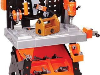 BlACK   DECKER Power Tool Workshop   Play Toy Workbench for Kids with Drill  Miter Saw and Working Flashlight   Build Your Own Tool Box  75 Realistic Toy Tools and Accessories  RETAIl  76 99