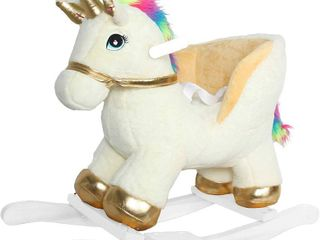 linzy Plush Fancy Unicorn Rocker W Safety Belt   Sound  Gold   White  RETAIl  67 48