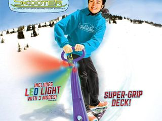 Geospace Original lED Ski Skooter  Fold up Snowboard Kick Scooter for Use on Snow   Purple  RETAIl  49 99