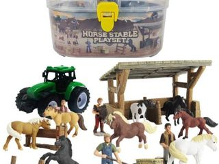 Horse Stable Playset includes 8 Horses   Accessories  17 Piece Horse Stall Farm Set with Portable Case  RETAIl  21 99