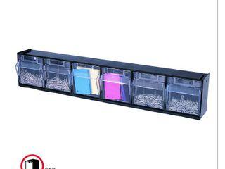 Deflecto Six bin horizontal tilt bin storage system 24  long  RETAIl  29 99