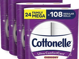 Cottonelle Ultra ComfortCare Soft Toilet Paper with Cushiony Cleaning Ripples  24 Family Mega Rolls  Bath Tissue  24 Family Mega Rolls   108 Regular Rolls   RETAIl  25 18