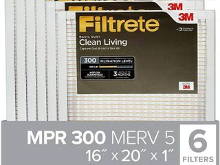 Filtrete 16x20x1  AC Furnace Air Filter  MPR 300  Clean living Basic Dust  6 Pack  RETAIl  33 00