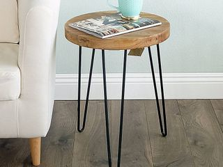 WEllAND Rustic Old Elm Wood Round End Table with 3 leg Metal Stand  RETAIl  68 00