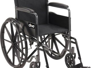Drive Medical Silver Sport 1 Wheelchair with Full Arms and Swing away Removable Footrest  Black  RETAIl  109 29