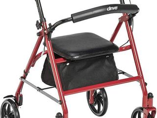 Drive Medical Four Wheel Rollator with Fold Up Removable Back Support  Red  RETAIl  58 25