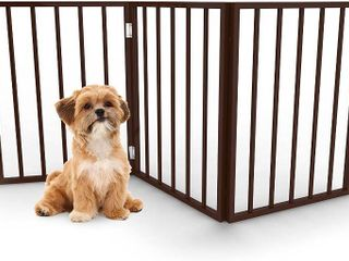 Foldable  Free Standing Wooden Pet Gate  light Weight  Indoor Barrier for Small Dogs   Cats by PETMAKER  24 Inch  Dark Brown  RETAIl  49 99