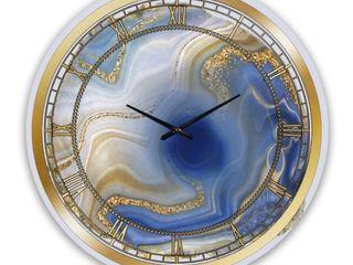Designart  Ocean Blue Golden Jasper Agate I  Modern wall clock   Retail 119 99