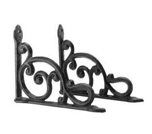 Heavy Duty Iron Decorative Shelf Bracket Patio Garden Ornate Pair