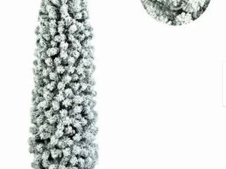 7 5ft Pencil Flocking Artificial Christmas Tree with Stand White  Retail 103 99
