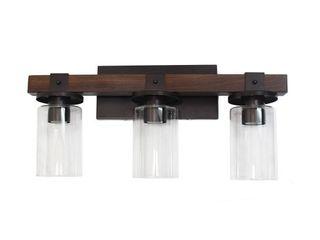 Elegant Designs Industrial Rustic lantern Wood look 3 light Bath Vanity  Retail 112 49