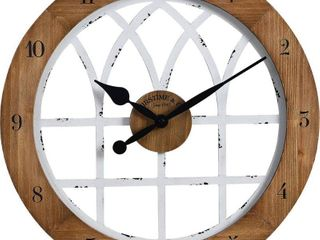 FirsTime  amp  Co  Cathedral Arch Wall Clock  American Crafted  Weathered Brown  amp  White