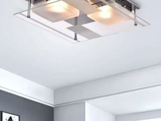 lucia Chrome 2 light Square Frosted Glass Flush Mount Ceiling light  Retail 101 99