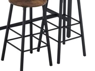 Industrial Style Round Bar Stools Set of 2 PVC Wood Grain Brown