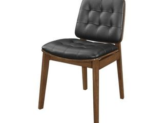 Redbridge Black and Natural Walnut Tufted Back Dining Chairs  Set of 2  Retail 208 99