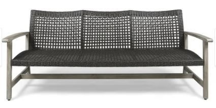Hampton Outdoor Wood and Wicker Sofa 6ft by Christopher Knight Home  Retail 479 99