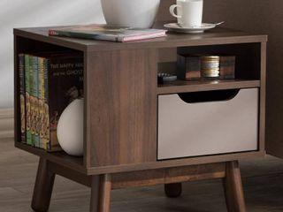 Britta Midcentury Modern Walnut And Two Tone Finished Wood Nightstand Brown Gray   Baxton Studio