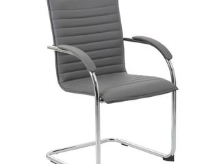 Boss Office Products Grey Chrome Frame Vinyl Side Chair  2 pack  Retail 189 49