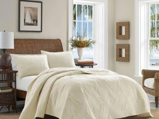 Tommy Bahama Solid Paradise Fronds Cotton King Quilt Set  Retail 115 49