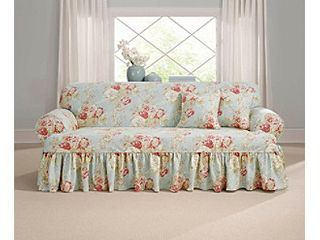 Sure Fit Ballad Bouquet loveseat T Cushion Skirted Slipcover  Retail 102 61