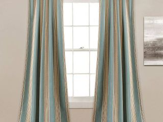 lush Decor Julia Striped Room Darkening Window Curtain Panel Pair   52 W x 84 l