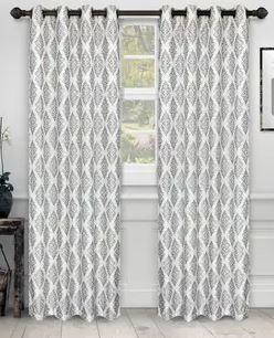 Miranda Haus labrea Damask Jacquard Grommet Curtain Panel Pair