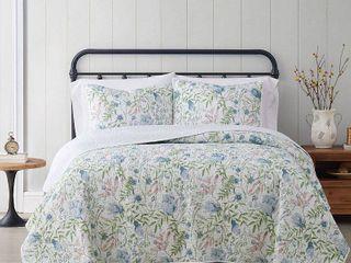Cottage Classics Field Floral 3 Piece Full Queen Quilt Set  Retail 84 98