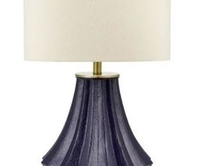 Catalina lighting Ribbed Resin Navy Table lamp With Beige Shade