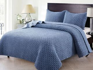 Christopher Knight Collection Crushed Stone Soild King Quilt Set  Retail 114 99