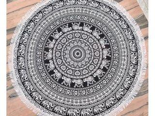 Black   White Round Mandala Tapestry 78  Diameter