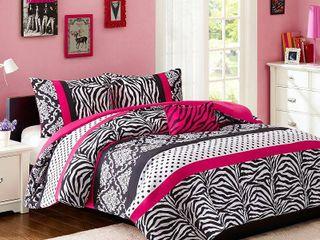 leona Comforter Set  Twin Twin Extra long  Pink   3pc