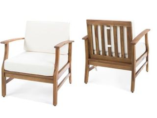 Perla Outdoor Acacia Wood Chair Set by Christopher Knight Home   Small Scratch On One Arm