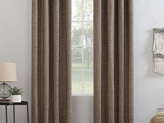 84 x52  Kline Burlap Weave Thermal 100  Blackout Grommet Top Curtain Panel Orange   Sun Zero  Set Of 2Panels  52x84