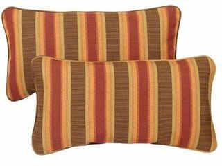 Sunbrella Autumn Stripe Corded Outdoor Pillows  Set of 2  Retail 76 48