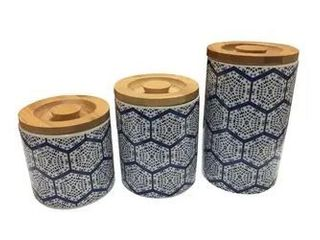le Chef Ceramic Storage Canisters Set of 3 Various Sized  7 1 4  5 1 4  4 1 4  Height