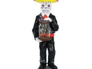 Exhart Day of the Dead Man with lED Sparkle light Jar and Battery Powered Automatic Timer  14 Inches tall