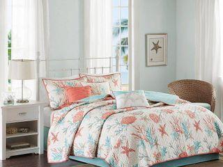 Coral Ocean View Printed Quilt Set  King California King  6pc