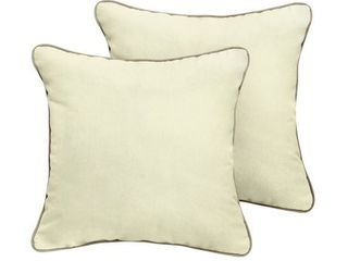 Humble   Haute Sunbrella Canvas Natural Indoor Outdoor Corded Pillow Set of 2  Retail 81 48  22x22