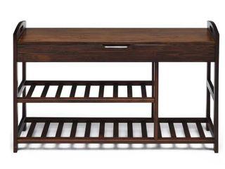 3 Tier Bamboo Shoe Bench Entryway  Retail 103 49