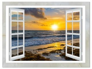 Open Window to Bright Yellow Sunset   Modern Seascape Canvas Artwork  Retail 102 59