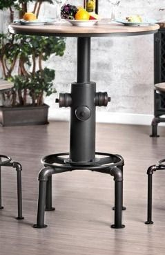 Incomplete  Base Only  Furniture of America Industrial Black Metal Bar height Round Table  Retail 284 49