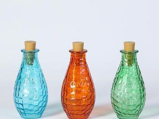 3pc Glass Bottles with lED String lights