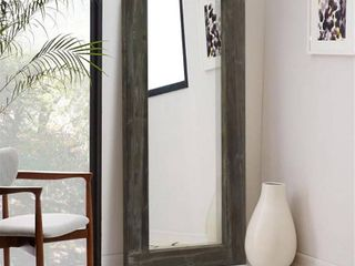 Rustic Wood Rectangular Freestanding Full length Mirror   58 x24   Slight Damage  See Pictures