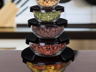 Glass Food Storage Containers with Snap lids  5 Piece Set