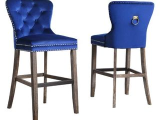 Best Quality Furniture Tufted Velvet Barstools  Set of 2  Retail 446 99  Missing Hardware And One Foot Rung