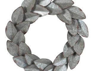 Kate and laurel Magnolia Galvanized Metal Wall 21  Wreath
