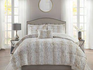 Madison Park Marselle Faux Fur King Comforter Set  Retail 105 99