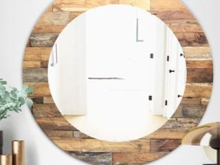 Designart  Wood IV  Modern Mirror   Oval or Round Wall Mirror  Retail 189 99